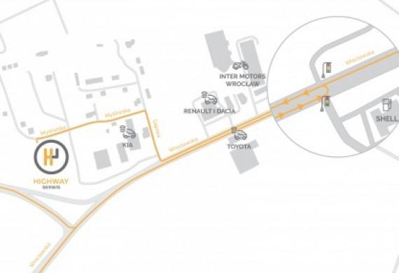 Mapa poglądowa z opisem dojazdu do HighWay Serwis w Długołęce k/Wrocławia