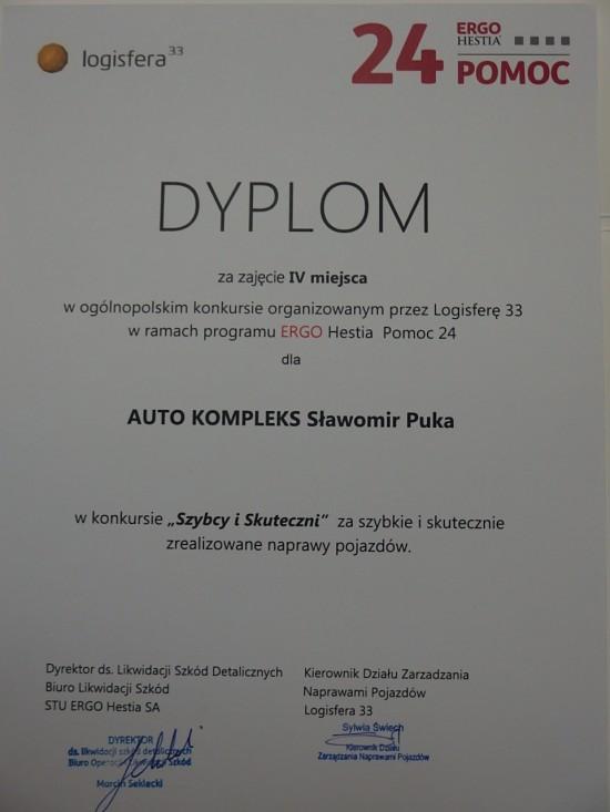 Dyplom za zajęcie IV miejsca w ogólnopolskim konkursie organizowanym przez Ergo Hestię