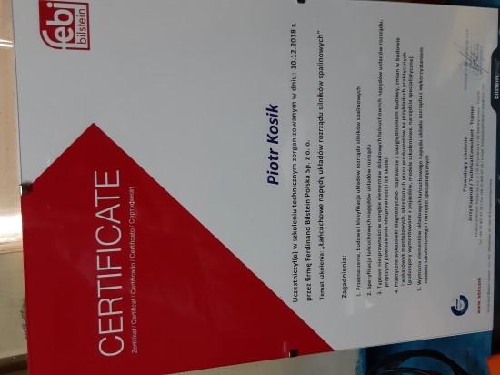 Certyfikat z wymiany łańcuchów rozrządu