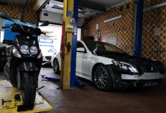 Mercedes lakierowanie zderzaka+maska, naprawa zawieszenia pneumatycznego i Yamaha na serwis olejowy+przegląd ogolny