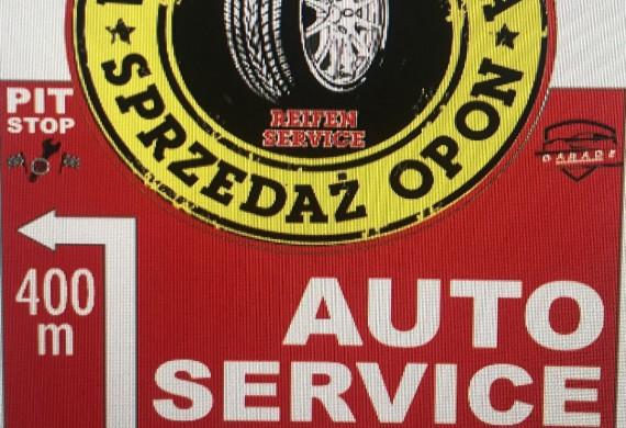 Reklama przy wjeździe w miasto Warsztat samochodowy PIT-STOP Słubice, Mechanika, Elektryka, Spawanie, Wulkanizacja