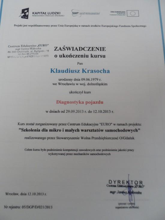 Certyfikat Diagnostyki Pojazdu