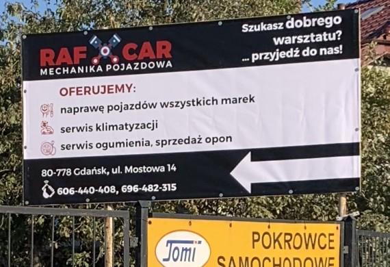 Tablica informacyjna naszego warsztatu Mostowa 14 Gdańsk