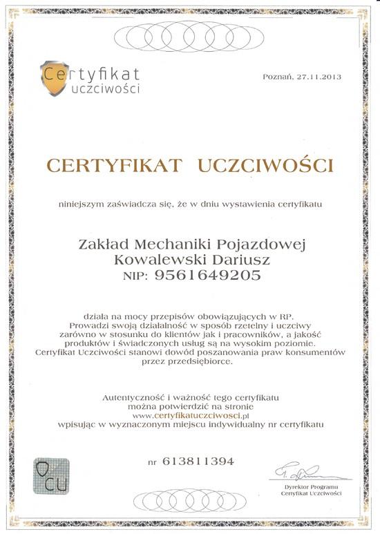 Certyfikat Uczciwości