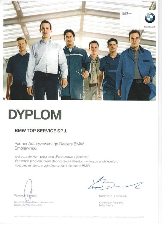 Dyplom współpracy z BMW