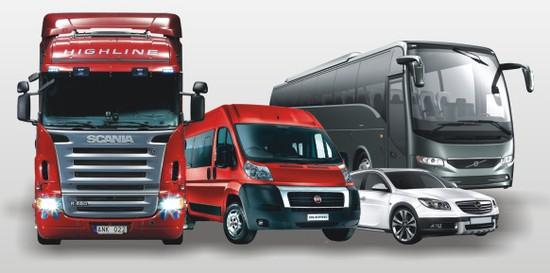 osobowe, dostawcze, ciężarowe, autobusy