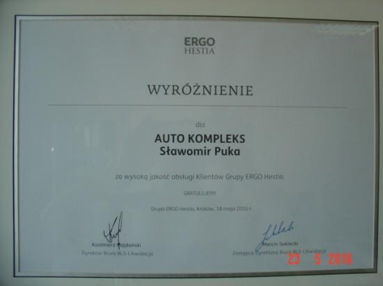 Dyplom uznania Ergo Hestia