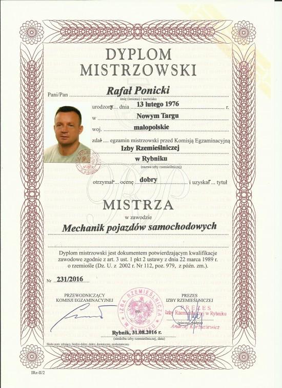 Dyplom naszego mistrza